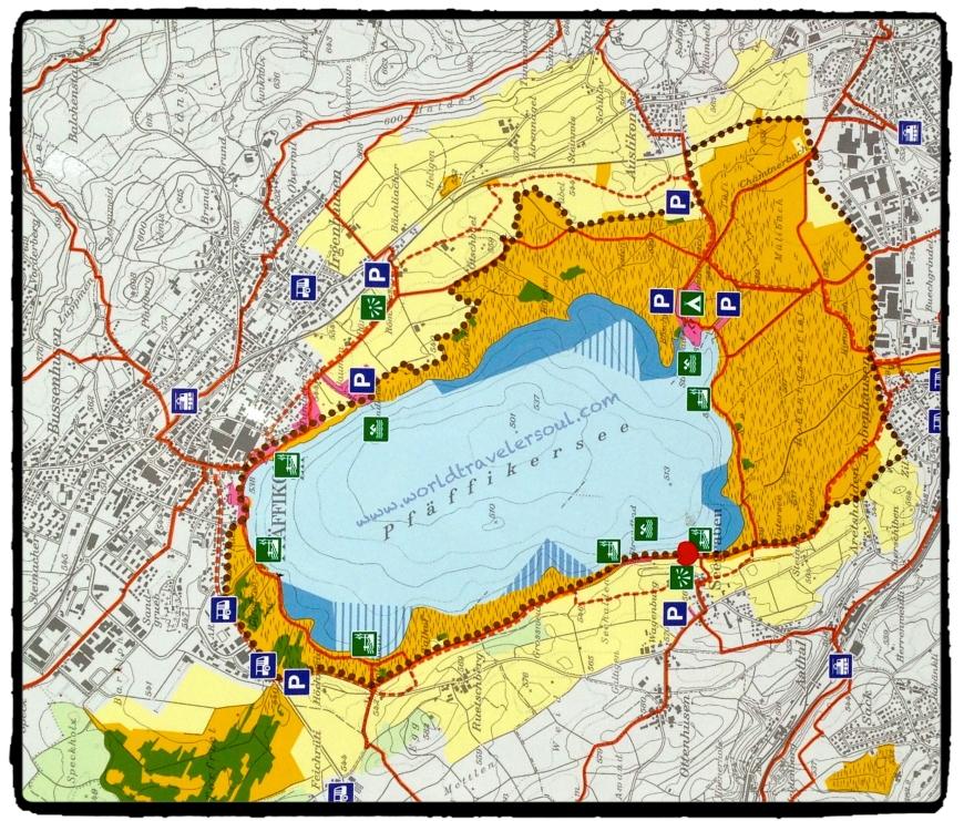 """Plano del lago con las indicaciones de """"Parking"""""""