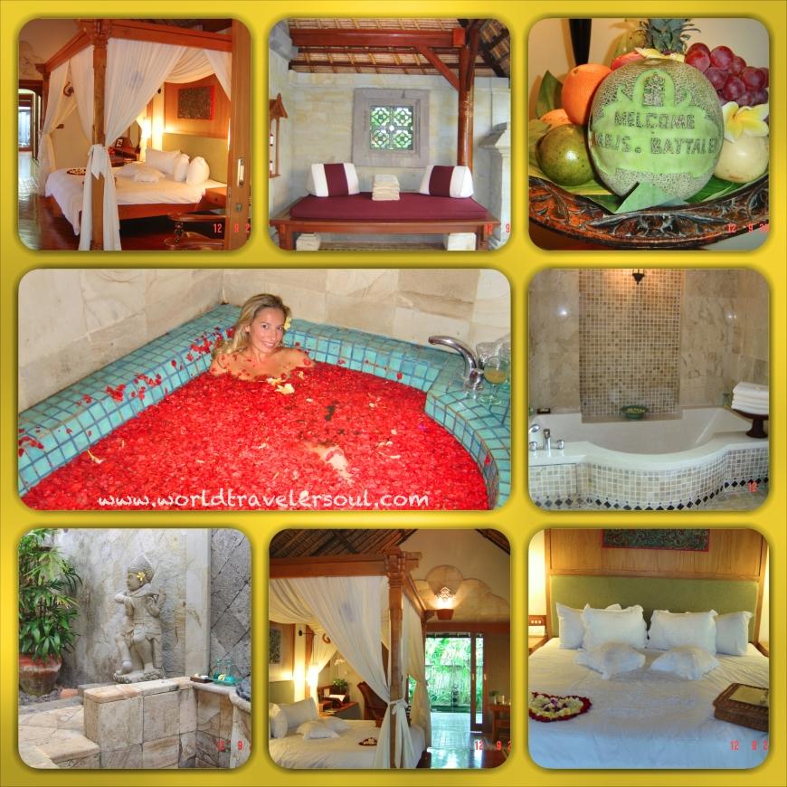 Fotos interior de la villa. Y Baño floral en el spa.
