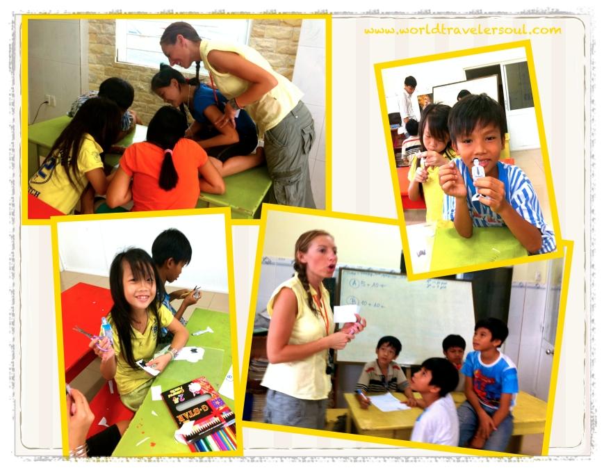 Dando clases de inglés en el orfanato.
