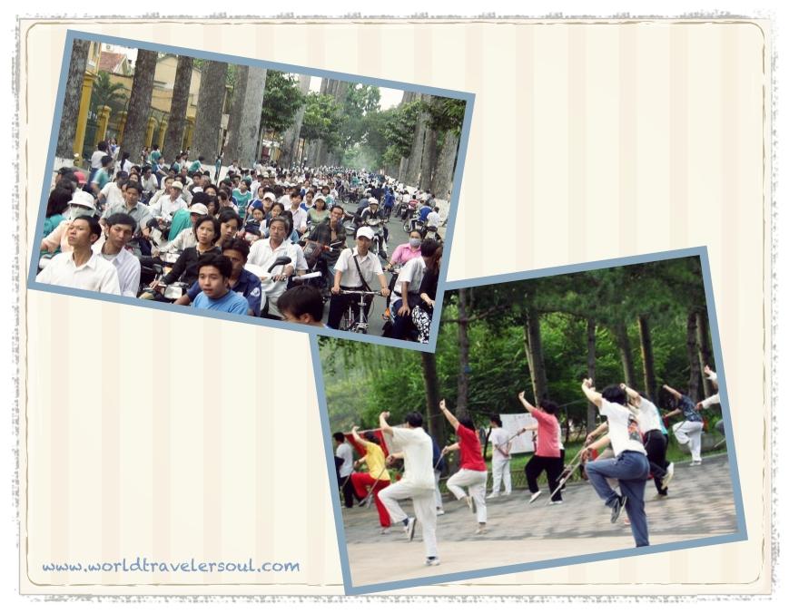 No es un una manifestación, es una calle un día cualquiera en Ho Chi Minh. Taichí en el parque.