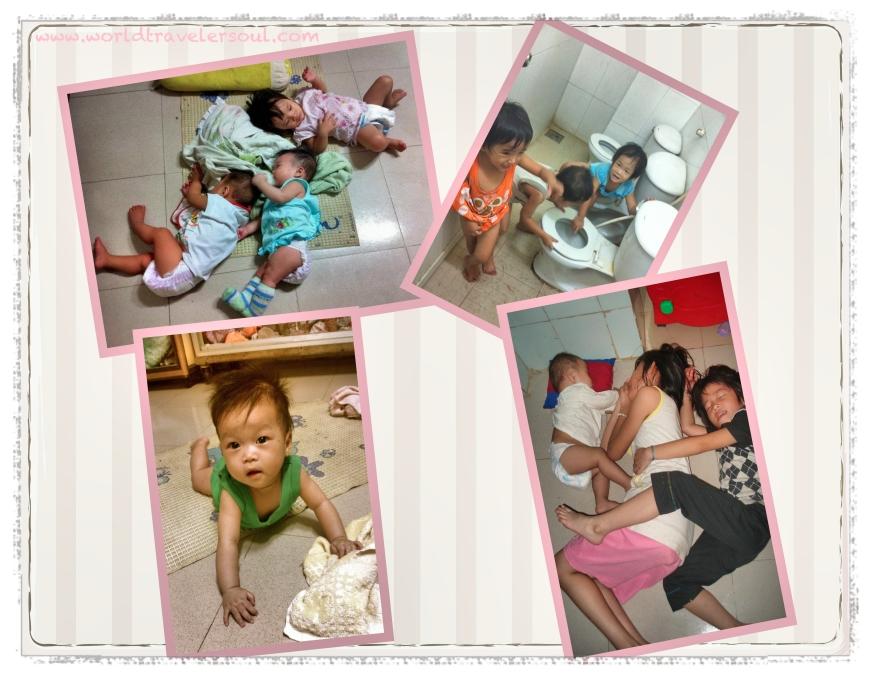 Bebés durmiendo, niños haciendo de las suyas en el baño, hora de la siesta.