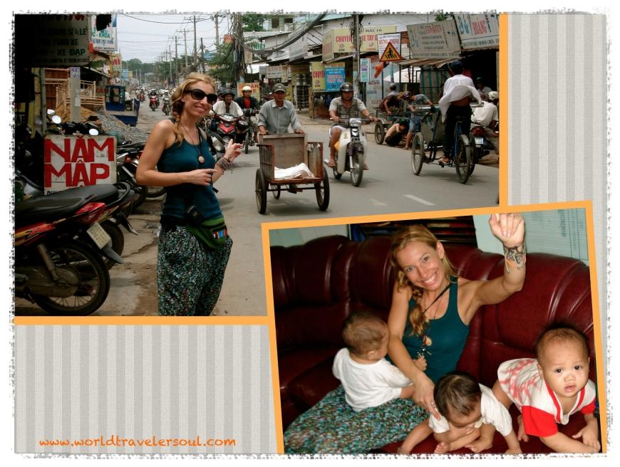 Calle cercana al orfanato, yo jugando con los bebes.