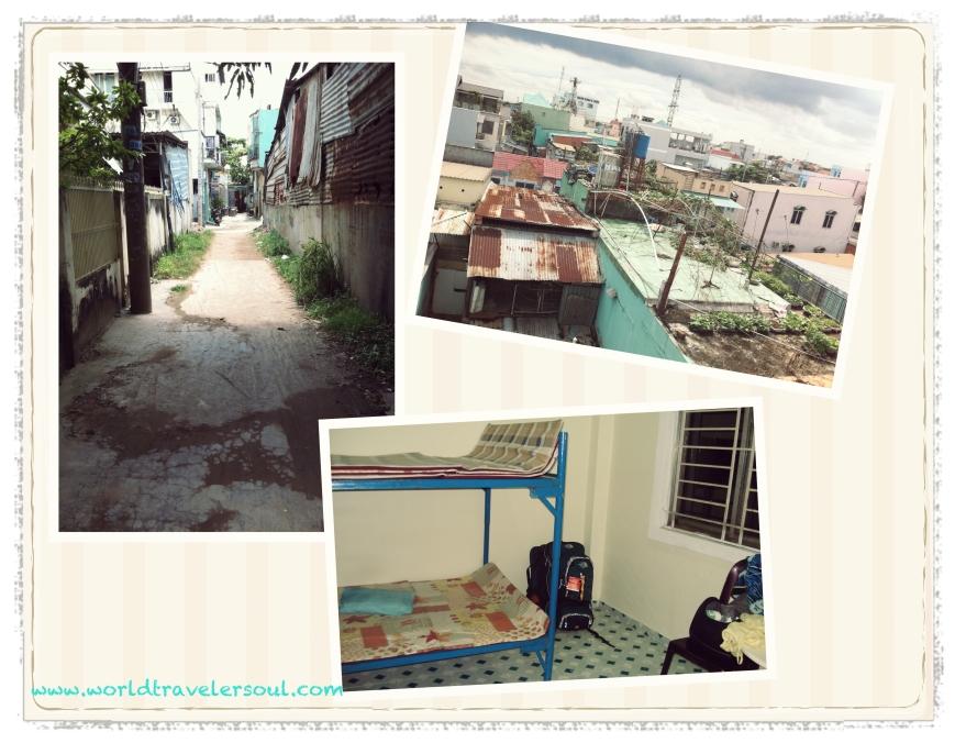 Callejón del orfanato, litera donde duermo y vistas desde mi habitación.