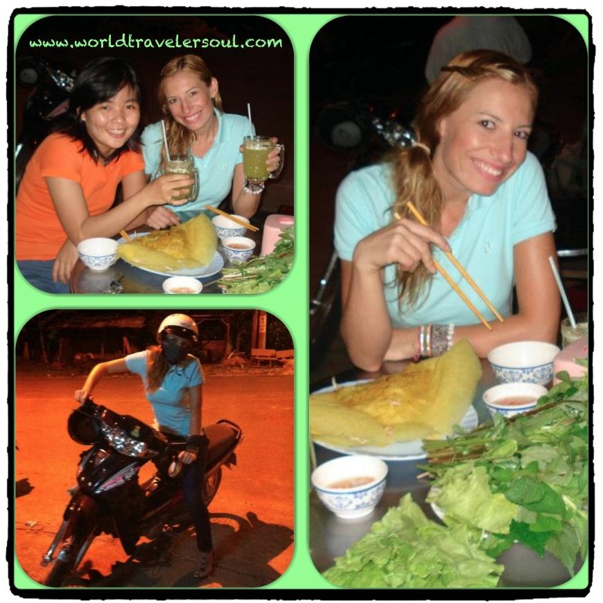 Cenando con Trang en un puestecito de la calle.