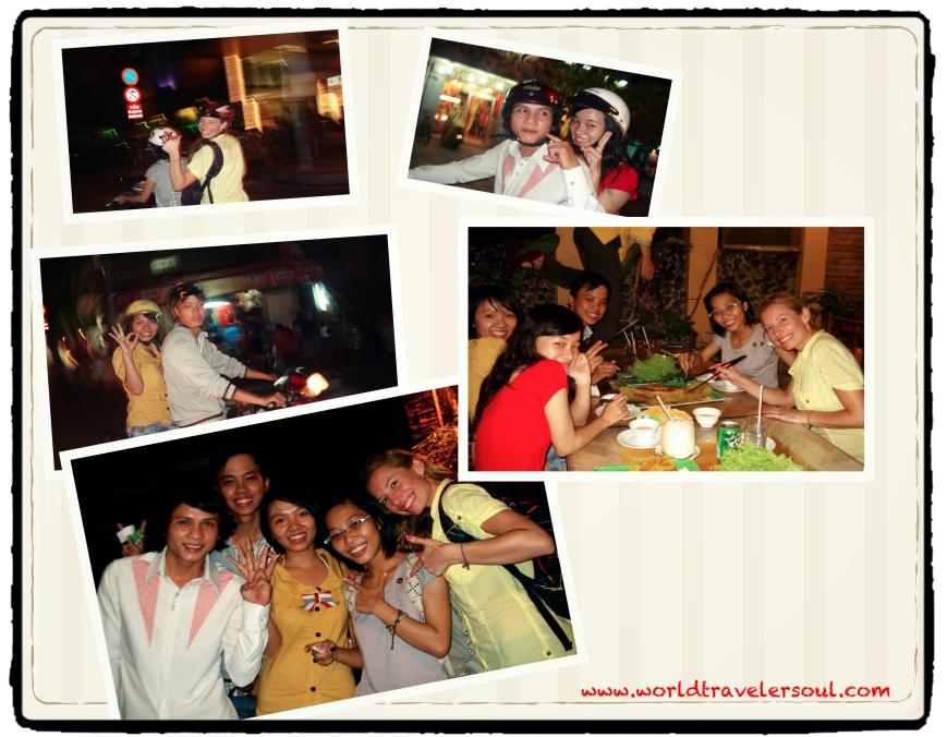 De cena con los amigos de Thu.