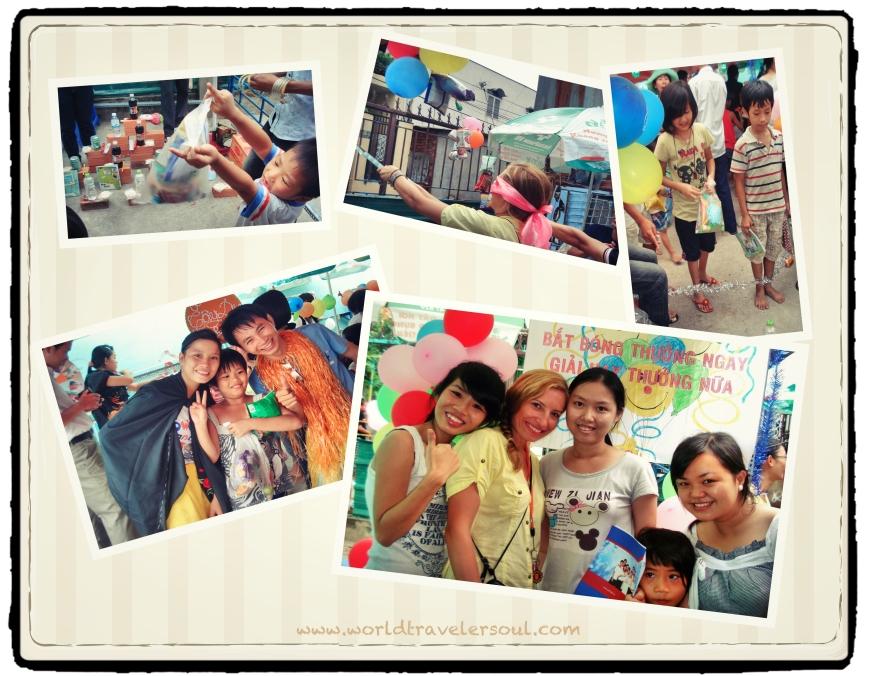 Fotos varias de la fiesta de Otoño para los niños del orfanato.