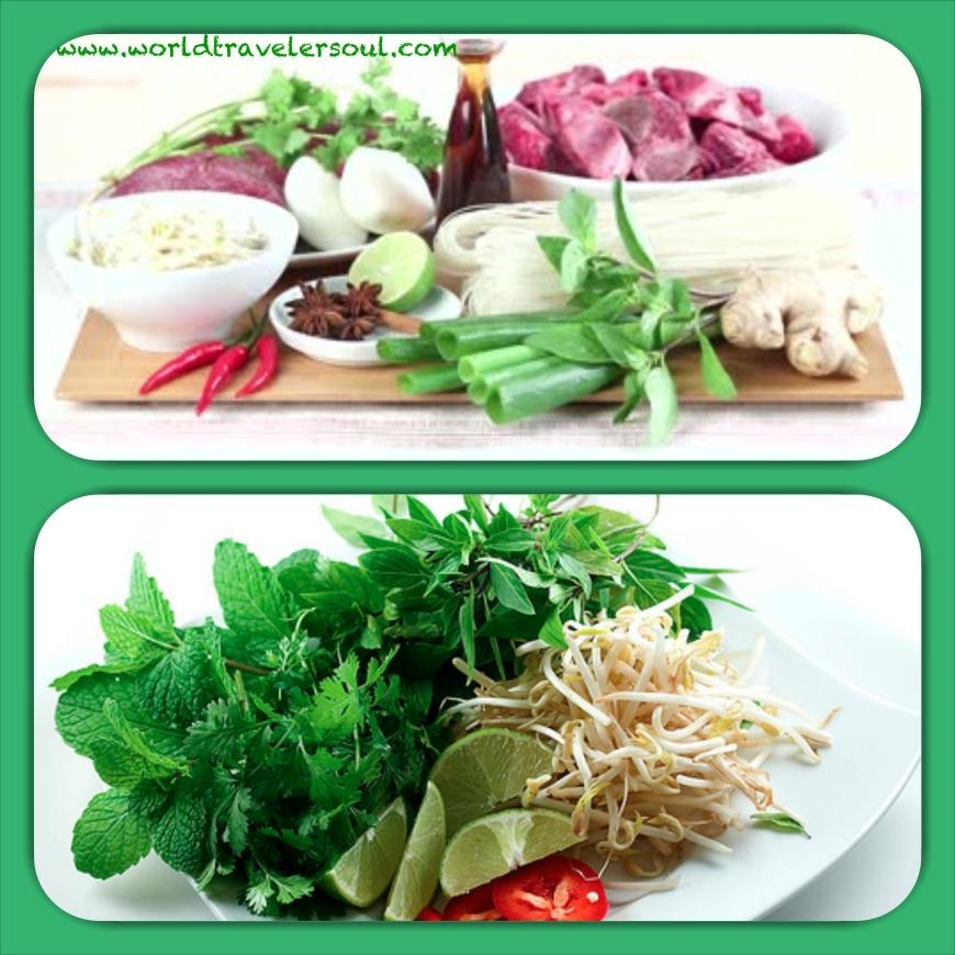 """Ingredientes para preparar el caldo y la guarnición de la """"phô bo"""" vietnamita."""