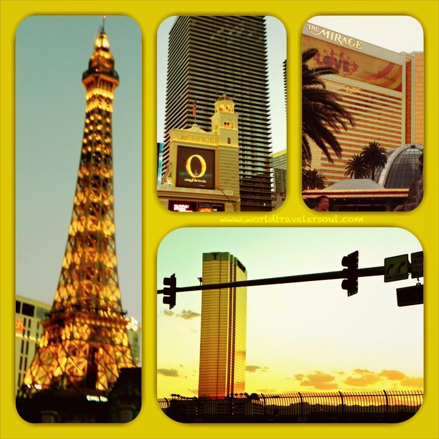 Nuestras primeras vistas de Las Vegas al atardecer, conduciendo el Mustang descapotable por la Strip... IMPRESIONANTE