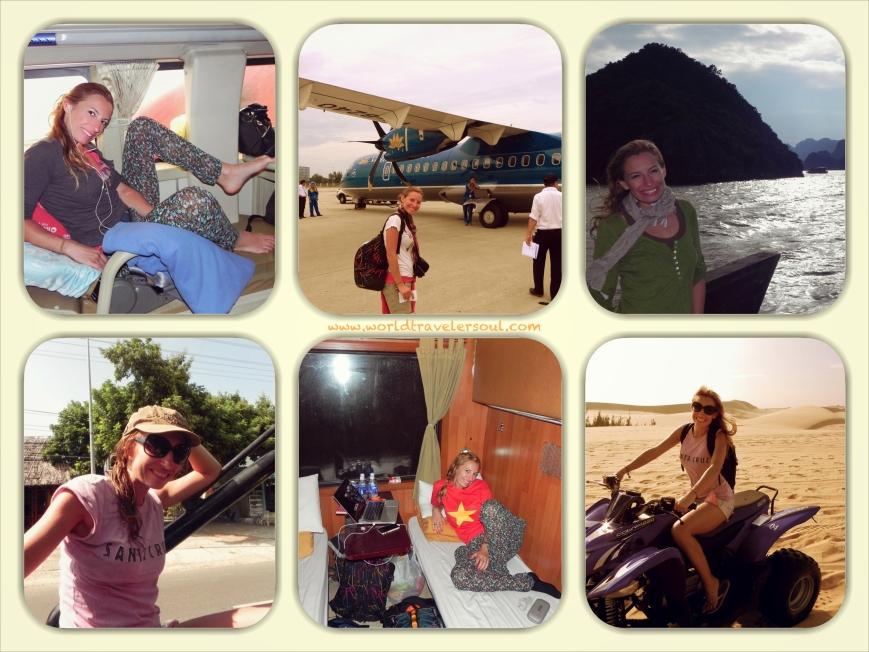 Sleeping-bus (comodísimo!), avión de hélices, embarcación típica vietnamita, 4x4 descapotable, tren-cama (la risa!), quad...